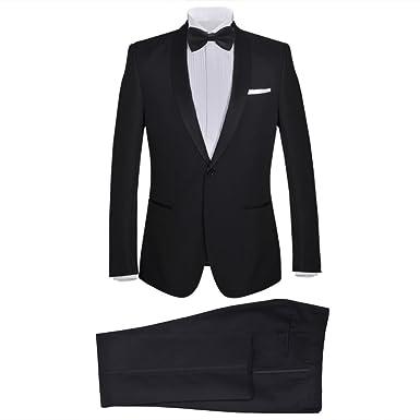 vidaXL Esmoquin Traje de Gala Elegante con corbatín para Hombre Negro 2 Piezas