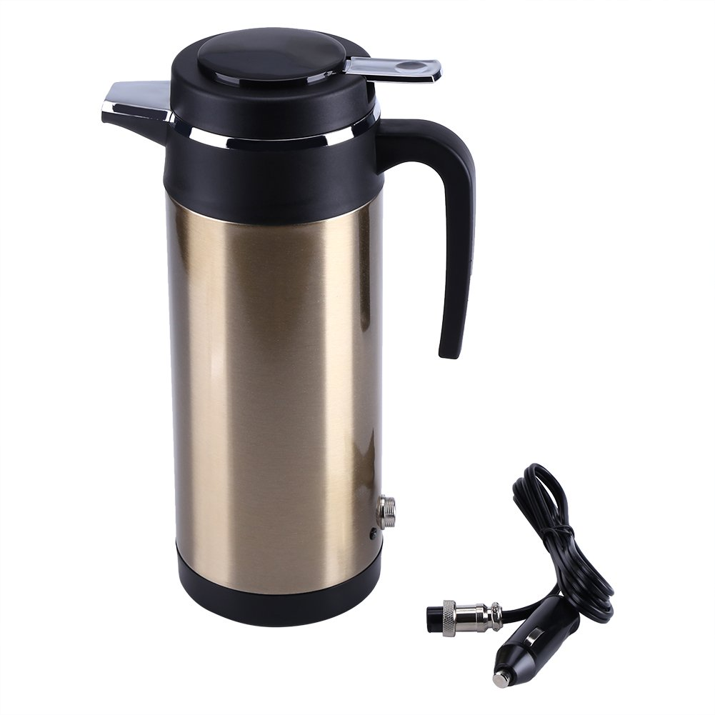 Ymiko 800mL 12V Bouilloire en Voiture pour Prise Allume-cigare sans BPA Inox Bouilloire de Voyage Isolation Cafetière à Piston Pot de Café Électrique