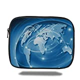 Laptop Sleeve Case,World,Connected World Concept Business Commerce Network Corporation Information Decorative,Blue Light Blue White,iPad Bag