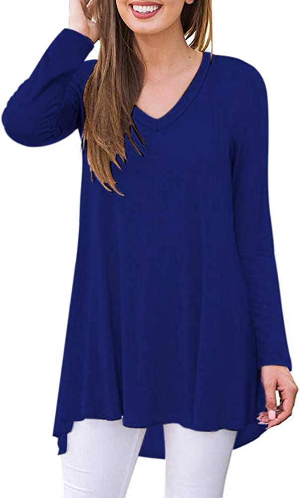 AUSELILY Camiseta de Manga Larga con Cuello en v para Mujer Túnica Tops Blusa Camisas.(EU 32-34, Azul Real): Amazon.es: Ropa y accesorios