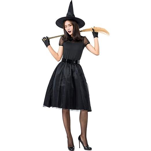 HG-amaon Disfraz de Bruja de Vestido Negro de Halloween, Disfraz ...