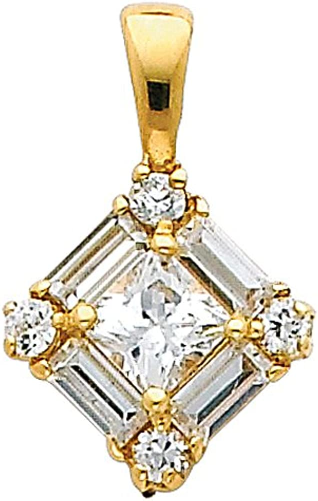 14k White Gold Cluster CZ Square Charm Pendant