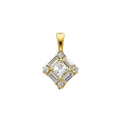 Paradise Jewelers Solid 14K Yellow Gold Open Heart Cubic Zirconia Pendant