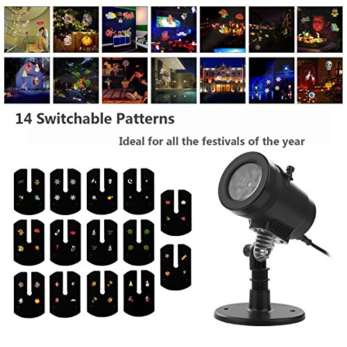 Zinuo Christmas Projector Lights, Xmas Decorative Lighting LED Landscape Projector Lamp with 14 Switchable Patterns for Patio Garden Lawn Decoration (Decorative Christmas)