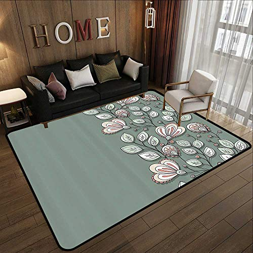 Silky Smooth Bedroom Mats,Bohem,Floral Theme Romantic Spring Flowers and Leaves Graphic Nature Pattern,Almond Green Reseda Green 71