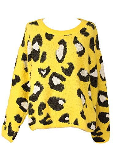 Sidecca Women's Novelty Leopard Oversize Fuzzy Pullover Sweater Yellow S