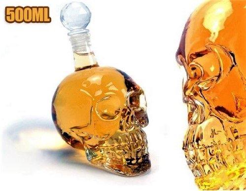 Summarytip Skull Head Vodka Shot Whiskey Wine Drinking Glass Bottle Decanter Skull Shaped Wine Bottle 500 ml (Transparent) (500 ml, (Amber Glass Decanter)