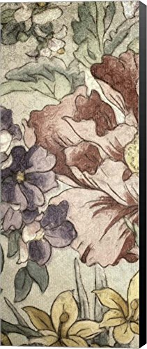 Earthtone Floral Panel II by Catherine Kohnke Canvas Art Wall Picture, Museum Wrapped with Black Sides, 11 x 27 - Earthtone Panel Floral