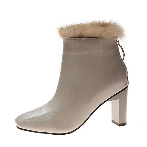 Moda para Mujer Punta Cuadrada Tacones Altos Tacones Cuadrados Zapatos Botas Cortas Botines: Amazon.es: Zapatos y complementos