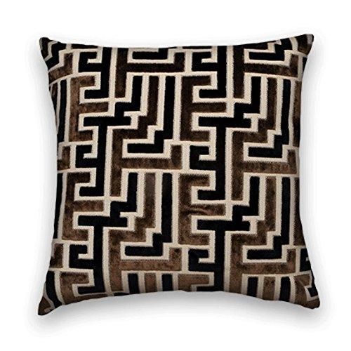 Black Brown Velvet Geometric Decorative Throw Pillow Cover (Black And Brown Throw Pillows)