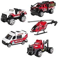 SunQ Carro de Rescate Ambulancia Camiones Car Model Vehículos de Mini Coches Helicóptero Juguetes Set para Niños 3 4 5 Años (5 Pedazos)