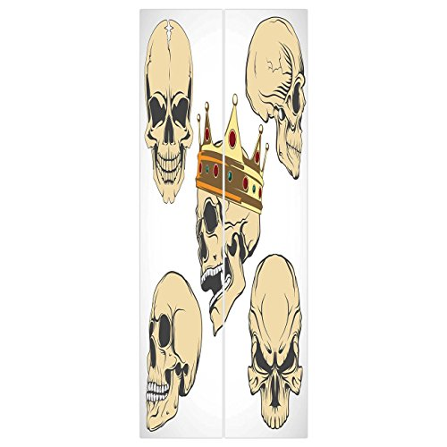 3d Door Wall Mural Wallpaper Stickers [ Skull Decor,Skulls Different Expressions Evil Face Crowned Death Monster Halloween,Sand Brown Yellow ] Mural Door Wall Stickers Wallpaper Mural DIY Home Decor ()