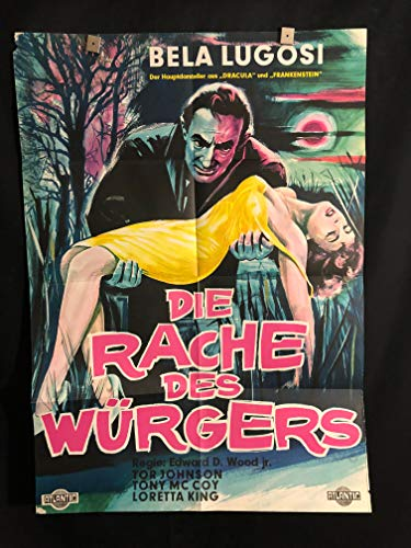 Bride Of The Monster 1956 Original Vintage German Movie Poster, Bela Lugosi, Ed Wood, Tor Johnson, Plan 9 From Outer Space, Dracula