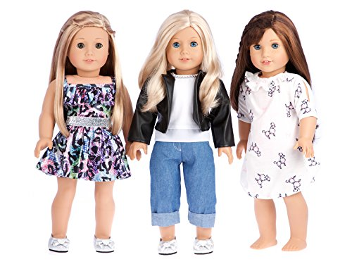 Ultimate Play Set - Clothes Fits 18 Inch American Girl Doll - 7 Piece - 3 Mix and Match Outfits with Shoes - Nightgown, Swim Suit, Skirt, Blouse, Pants, Leather Jacket and Shoes. (Dolls Not Included)