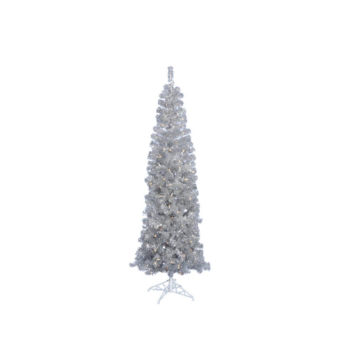 2b369d1c255 Amazon.com  Vickerman Pre-Lit Silver Artificial Tinsel Pencil Christmas Tree  with Clear Lights
