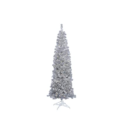 vickerman pre lit silver artificial tinsel pencil christmas tree with clear lights 9 - Pre Lit Pencil Christmas Tree