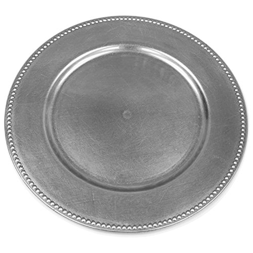 BalsaCircle 6 pcs 13-Inch Silver Crystal Beaded Round Charger Plates - Dinner Wedding Supplies for all Holidays Decorations