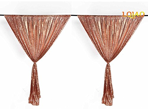 LQIAO Rose Gold Sequin Curtain Backdrop Sparkly Fabric Curtains for Sitting Room, Bedroom Home Decoration (2 Panels, W46 x L84 -Inch,Rose Gold)