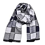 Plaid Knit Custom Warm Men Scarf Wrap Cozy Tassel Shawl Winter Elastic (white)