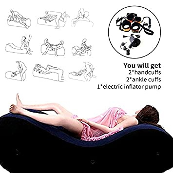 Beser Inflatable Sofa, Yoga Chaise Lounge/Relax Chair, Sex Bed Sofa with Electric Pump Handcuffs & Leg Cuffs- Portable Magic Cushion Ramp Body Pillow Inflatable Adult Furniture Lounger