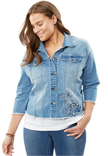 Denim Embroidered Blazer (Women's Plus Size Embroidered Denim Jacket Light Stonewash Embroidered,24 W)