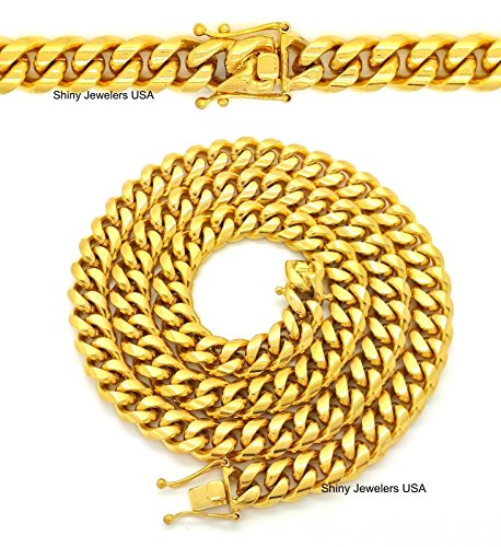 Mens Gold 12mm Miami Cuban Link Chain Thick Solid 30