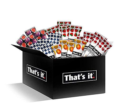 Thats it Fruit Bars Snack Gift Box { 20 Pack }100% All Natural, Gluten-Free, Vegan, Low Carb Snacks - Healthy Fruit Snacks Bulk Variety Pack(Strawberry, Mango, Blueberries, Cherries & Fig Bars)