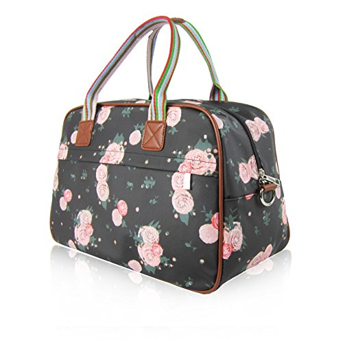 Travel Hand New Maternity Overnight Blossom Print Bag UK Black Ladies Floral Womens Luggage Day A6xzPqn84w