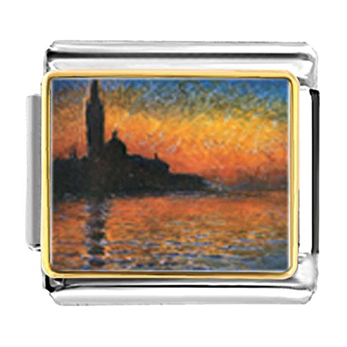 GiftJewelryShop Gold Plated Monet's San Giorgio Maggiore Bracelet Link Photo Italian Charm ()