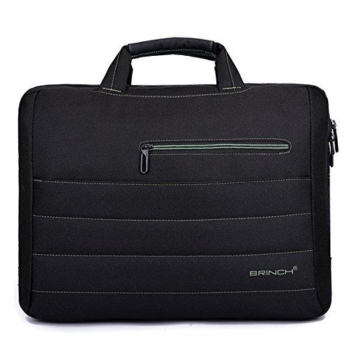 D.jiani® 15-Inch 17-inch shockproof Laptop Case shoulder bag (15 inch, black-two(green))