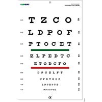 Snellen Chart with Red Green Lines 10 Feet Size 14 x 9 Inches