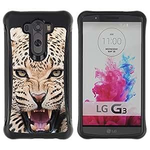 "Pulsar iFace Series Tpu silicona Carcasa Funda Case para LG G3 / D855 / D850 / D851 , Leopardo feroz animal del gato grande Rugido"""