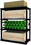 Wine Cellar Innovations DPM-MB-RBWC_LAQG1-A3 Designer Series Rectangular Bin/Wood Case Storage for below tabletop Wine Rack, Prime Mahogany, With Lacquer Finish, Midnight Black Stain