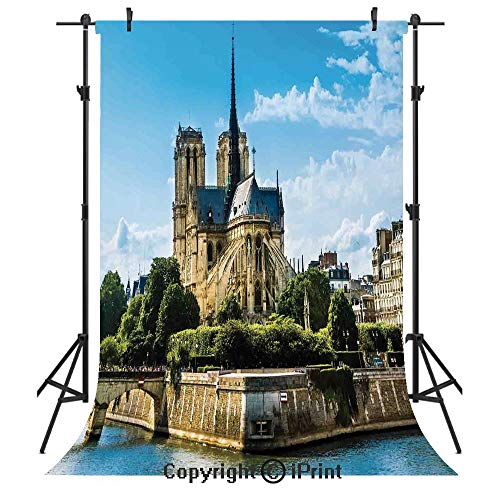 (Paris Decor Photography Backdrops,Cathedrale Notre Dame De Paris Ancient Monumental Travel Destinations Cityscape,Birthday Party Seamless Photo Studio Booth Background Banner 5x7ft, )