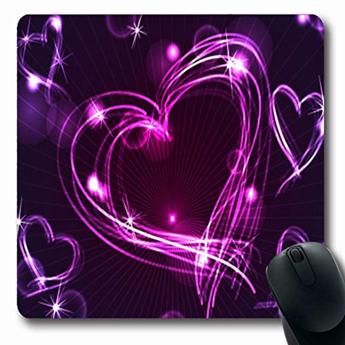 (Ahawoso Mousepads for Computers Drawing Pink Neon Fun Hand Drawn Holidays Circle Heart Purple Light Effect Blur Celebration Design Oblong Shape 7.9 x 9.5 Inches Non-Slip Oblong Gaming Mouse)