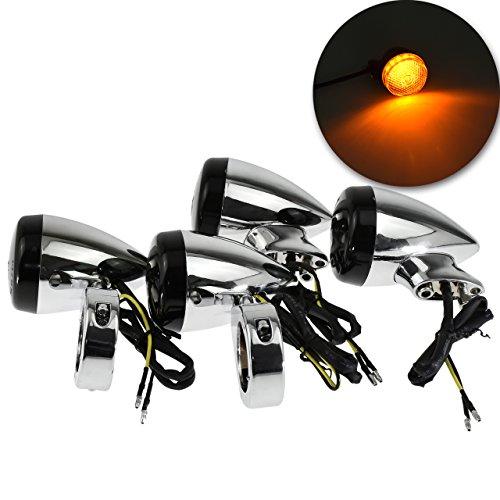 Motorcycle 4Pcs 39MM Fork Clamp Front Rear LED Turn Signal Light Indicator Lamp for Harley Sportster Dyna Bobber, Chrome+Black: