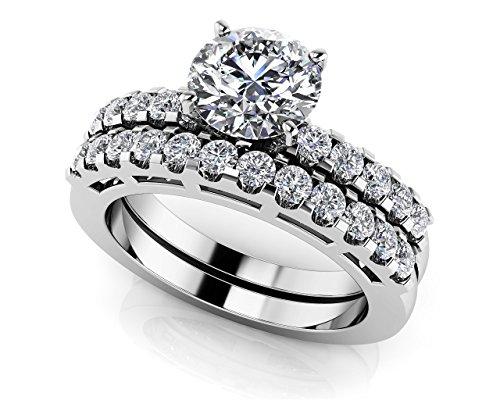 14K Or blanc serti Diamant Ben Laden de mariage Ensemble