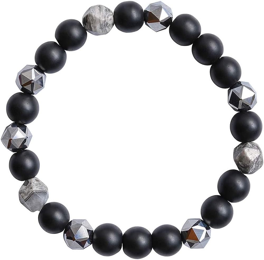 Mslamiso Unisex Stretch Bracelet Elastic Bracelet Jewelry for Women Men Black Agate Bead Bracelet