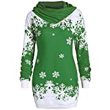 Moonuy Festive Christmas Stylish Design Dress Party Dress for Christmas Party Decoration Fashion Women Merry Christmas Snowflake Printed Tops Cowl Neck Sweatshirt Blouse