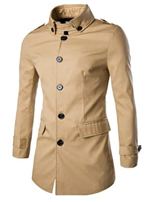 MLG Mens Fashion Single Breasted Stand Collar Trench Coat Khaki XL