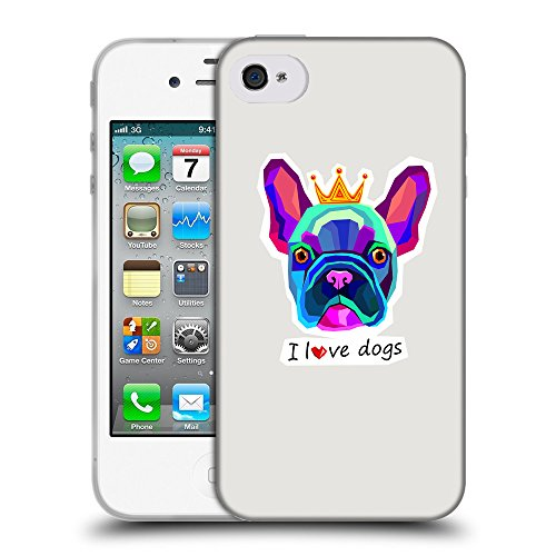 GoGoMobile Coque de Protection TPU Silicone Case pour // Q05070631 Couronne bulldog Platine // Apple iPhone 4 4S 4G