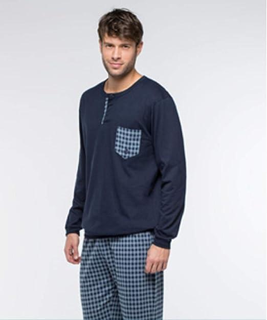 Guasch Pijama, Camiseta con Bolsillo a Juego con el pantalón. Pantalón a Cuadros y