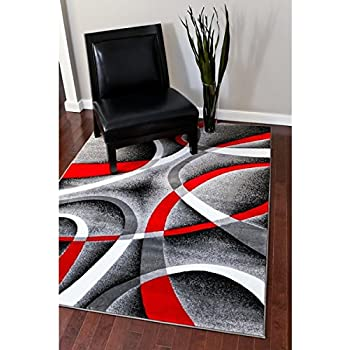 Amazon Com Persian Rugs Modern Trendz Collection Red Grey