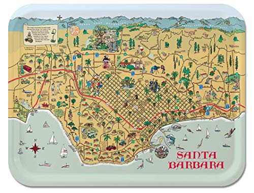 Trays4Us Santa Barbara 16x12 inches (Large) Map Serving Tray - 70+ Different Designs