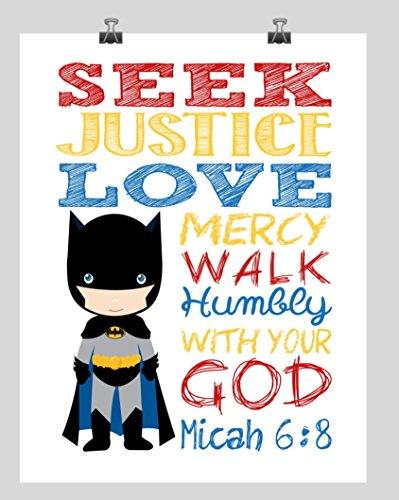 Batman Christian Superhero Nursery Decor Wall Art Print - Seek Justice Love Mercy - Micah 6:8 Bible Verse - Multiple Sizes ()