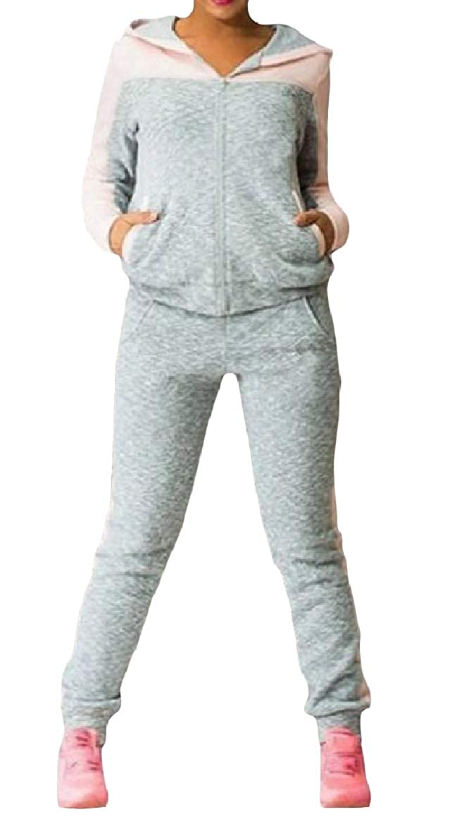 Winme Womens Zip-Up Hoodie Plus Size Active Workout Sweatsuits Tracksuits