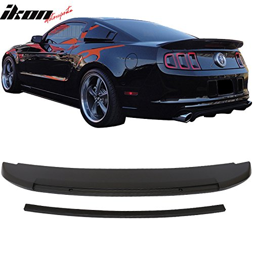 Ford Mustang Spoiler Replacement (10-14 Ford Mustang GT V6 GT500 Style Convertible Coupe Unpainted Black Trunk Spoiler Wing - ABS )