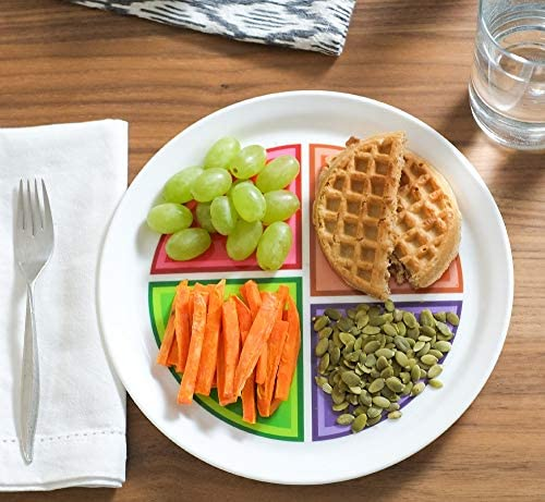 """Health Beet Portion Control Plate - Choose MyPlate for Teens and Adults, Nutrition Plate and Dairy Bowl with Food group Sections, 10"""" - English Language (1 Plate, 1 Bowl) 2"""