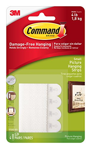 Command 17202 B007RKFBT6 Picture Hanging Strips, Small, White, 4, 9-Pack (36 Pairs ()