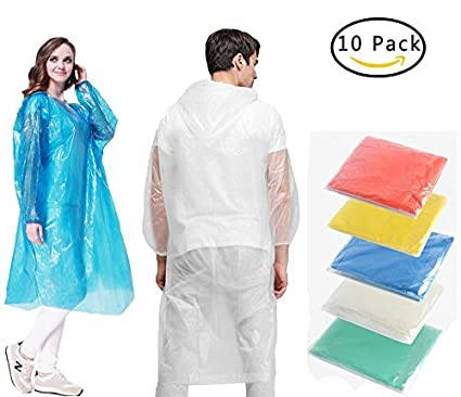 dcf4cf710fce0 QH Emergency Rain Ponchos for Adults Disposable, Portable Rain Poncho with  Hood Sleeves and Drawstring, Mens/Womens/Kids Poncho(One Size Fits All) for  ...